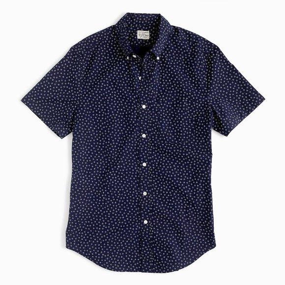 JCREW Navy BLUE Short Sleeve Daisy Print Shirt XS